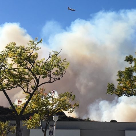 Picture taken by CCS teacher, Mrs. Solomon, as the previous school she worked at in California was being evacuated and planes were dropping fire retardant.