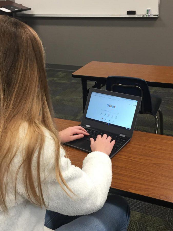 Carmel Christian student using her preferred browser on the Google platform.
