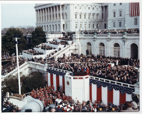 President Ronald Reagan delivering his inaugural address on the west front of the U.S. Capitol, January 20, 1981.