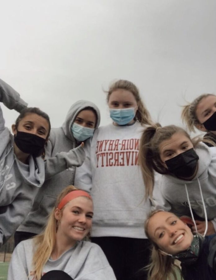 Seniors Katelyn Lovan, Ginger Eubank, Sophie Schwartz, Ella Boyce and juniors Aunna Johnson and Delaney Young having fun at practice. The women's soccer team is officially back in season.
